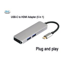 $enCountryForm.capitalKeyWord NZ - USB C Hub 5 in 1Aluminum with HDMI 4K Adapter ,microSD SD Card,2USB 3.0 Converter for Dell XPS 13 9350, Samsung