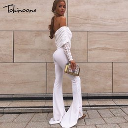 Tobinoone Autumn Winter Knitted Sweater Rompers Womens Jumpsuit Sexy Off Shoulder Long Sleeve Bodycon Overall One Piece Playsuit Jumpsuits