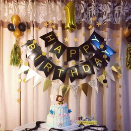 Wholesale 1pc Happy Birthday Banner Black Paper Banner Gold Garland Children s Birthday Decor Flag Party Decorations Adult Baby Shower Boy SH190723