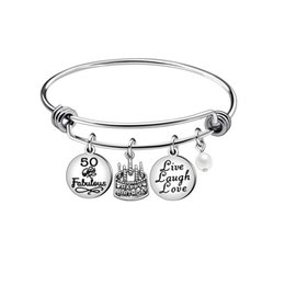 e3e71fedf XIAOJINGLING Stainless Steel Charms 50 Years Old Bracelets for Grandma  Adjustable Cake Bangle Women Jewelry Birthday Gift