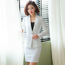 Wholesale womens work suits resale online - Formal Office Ladies White Blazer Womens Business Suits Women Skirt Suits Work Wear Clothes Styles