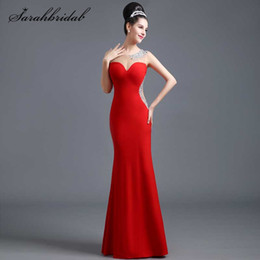 59312072911 Simple long jerSey dreSS online shopping - High Quality Sexy Charming Evening  Dress Red Jersey Fabric