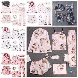 Sexy blue Sleepwear for women online shopping - Sleepwear Pyjamas Strap Pieces Pink Pajamas Sets Satin Silk Lingerie Homewear Sleepwear Pyjamas Set For Pijamas Woman