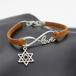 silver stars cuff bracelet NZ - 2019 Women Men Punk Brown Leather Rope Weave Adjustable Cuff Jewelry Vintage Infinity Love Star of David Shape Bracelet Bangles Dropshipping