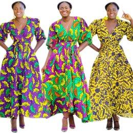 Dress Nation Australia - Cm555 Digital Printing Woven Skirt Petal Sleeve Depth V Waist Dress Nation