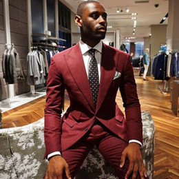 new stylish three piece suit images NZ - New Stylish Design Groom Tuxedos Two Buttons Burgundy Peak Lapel Groomsmen Best Man Suit Mens Wedding Suits (Jacket+Pants+Tie) 776