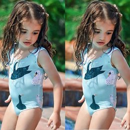 kid girls one piece swimwear Australia - Baby Girls One Piece Swimsuit Summer 2020 Swimsuit Girls Cartoon swan Printed One Piece Swimwear Beach Bathing Suit Kids A429