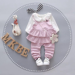 Valentines Sweets NZ - Girls Valentines Day Outfit Baby Clothes Fashion Sweet Bow Long Sleeve T-shirt+Ruffles Vest + Pants Cute Children Clothes Sets
