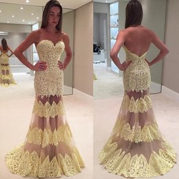 yellow lace dress sleeveless Australia - Yellow Mermaid Lace Backless Prom Dresses Sweetheart Neck Sleeveless Evening Gowns Floor Length Tulle Plus Size Formal Dress