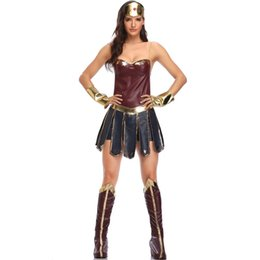 adult women superhero costumes Australia - Justice League Superhero Wonder Woman Diana Prince Female Cosplay Costume, Halloween Game Sexy Adult Women ApparelMX190923