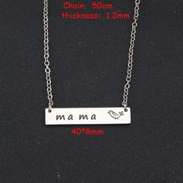 $enCountryForm.capitalKeyWord Australia - Stick Figure Bird Engraved Mama Mirror Necklace For Mother's Day Jewelry Gift Fashion Pendant Necklace Clavicular Chain