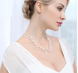$enCountryForm.capitalKeyWord Australia - charming Wedding Necklace 4-5mm White Cultured Pearl Handmade Net Necklace Cute Jewelry Best Gift for Bride