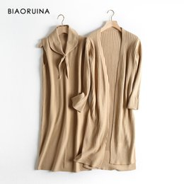 long knitted sleeveless cardigan Australia - BIAORUINA 5 Color Women's Sleeveless Knit Long Vest Bow Collar + Office Lady Casual Cardigans Ladies Two Piece Set One Size SH190913