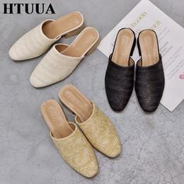 $enCountryForm.capitalKeyWord Australia - HTUUA High Quality Women Cane Weave Mules Shoes Women Slippers Square Heels Sandals Slip On Slides Fashion Summer Shoes SX1415