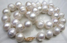 baroque gold south sea pearls UK - 11-13mm South Sea White Baroque Pearl Necklace 19 Inch 14k Gold Clasp Beaded Necklaces
