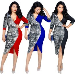 wholesale plus size clothes Australia - Plus Size Women Midi Dresses Panelled Color Deep V-Neck Sequins Belt Sashes Dress Fall Winter Slit Fashion Sexy Bodycon Party+Clothes 1344