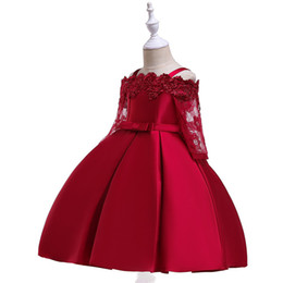 China 2019 Wine Red Flower Girl Dresses for Wedding Long Sleeves Pageant Dress Lace First Communion Dresses Customs Sapghetti Girls Pageant Gowns supplier dresses for girls 14 suppliers