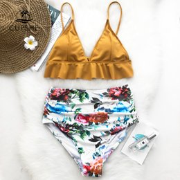 $enCountryForm.capitalKeyWord Australia - CUPSHE Rose Ruffled Hem Bikini Set Women Flora V-neck High-waisted Two Piece Swimsuit 2019 Girl Beach Bathing Suit Swimwear