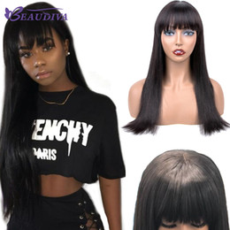 Long hair bobs online shopping - BEAU DIVA Brazilian Human Hair Wigs Straight Hair Long Bob Lace Front Wigs With Bangs Natural Black B Remy Hair With Baby Wig