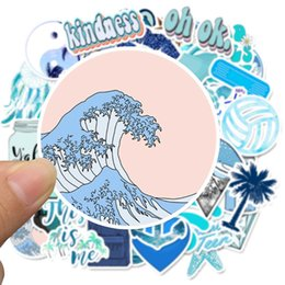laptop live UK - 50 Pcs Cartoon Sea Sky Blue Stickers For Chidren Toy Waterproof Sticker To DIY Suitcase Laptop Bicycle Helmet Decals Kids Toy
