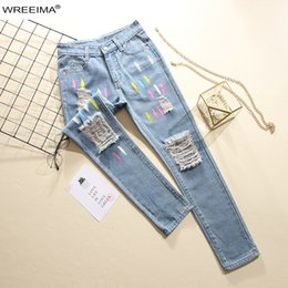 Hollow Blocks Australia - Individual Style 2019 Spring Fashion Women Long Pants Color Block Hollow Out Pockets Zipper Up Jeans Casual Street Jeans Z905