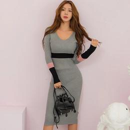 Striped Slim korean dreSS online shopping - Korean version of the latest fashion Slim color matching V neck knit bag hip dress