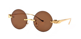 red frame womens glasses UK - 2019 Mens Womens Round Sunglasses Eyewear Sun Glasses Designer Brand Gold Metal Frame Brown Glass Lenses With Better Quality Cases