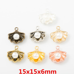 Nautical jewelry peNdaNt charms online shopping - 100pcs Mix DIY Alloy metal rose gold antique silver shell pearl charms nautical pendants Jewelry Parts fashion Handmade Accessories Material