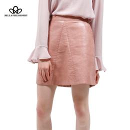 adfe16437748 wholesale spring new PU faux leather skirt women high waist skirt pink  yellow black back zipper pocket mini