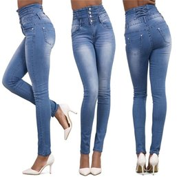 Discount european clothing styles for women - Wholesale Autumn Women Jeans Plus Size High Waist Pants Slim Stretch Casual Trousers for Woman Blue Fashion Women Clothi
