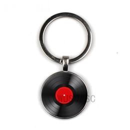 Retro-Glasscheibe keychain der einfachen klassischen Art Vinylliebhabergeschenke Groß- und Kleinhandel Private benutzerdefinierte Bilder