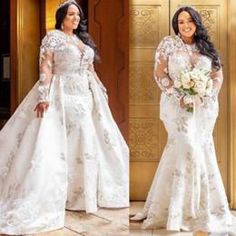 $enCountryForm.capitalKeyWord Australia - Vintage Plus Size African Mermaid Lace Wedding Dresses 2019 Detachable skirt Long Sleeves Country Bride Dress Vestido de novia Bridal Gowns