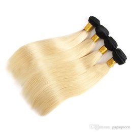 dark roots blonde closure Canada - B 1b 613 Straight Hair Bundles With 4x4 Lace Closure Blonde Virgin Human Hair Extensions Dark Roots