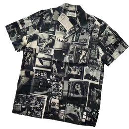 Wholesale mens silk xl resale online - Mens T Shirts WACKO MARIA Loose Shirt Short Sleeve Cardigan YOHJI Fashion Black Loose Shirt Women T shirt Casual High Street M XL