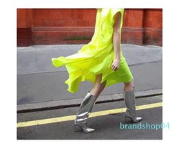 hot sexy thigh high boots UK - Hot Sale-Siver T Show Boots for women Thigh high Heels Patent leather Pointed toe Sexy Martin Boots Female