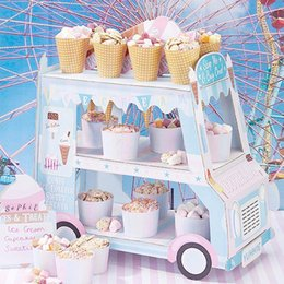 $enCountryForm.capitalKeyWord Australia - Creative Paper Car Shaped Birthday Cake Stand Ice Cream Car Shaped Display Stand Candy Pastry Rack Cupcake Holder T8190629
