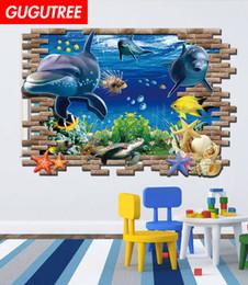 $enCountryForm.capitalKeyWord Australia - Decorate home 3D sea world cartoon art wall sticker decoration Decals mural painting Removable Decor Wallpaper G-824