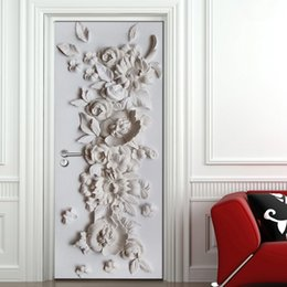 Discount flower modern painting black - Embossed Flower Mural Bedroom Living Room Door Decoration Sticker 3D Wallpaper PVC Self-adhesive Waterproof Mural Wall P