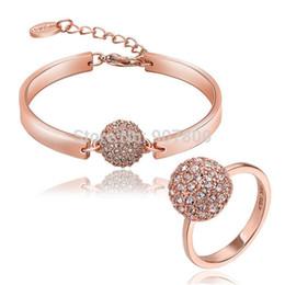 $enCountryForm.capitalKeyWord Australia - S403 Fashion Jewelry Set Rose gold plated crystal ball bracelet & ring beautiful wedding gift