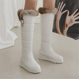 snow white crystal NZ - PXELENA Crystal Fur Plush Knee High Boots Women Winter Warm Thick Fur Snow Boots Waterproof Hidden Heel Shoes Black White