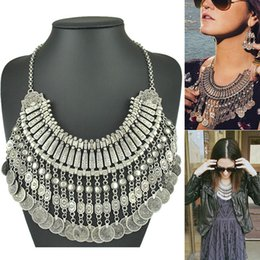 $enCountryForm.capitalKeyWord NZ - for women Gypsy Ethnic Boho Retro Metal Carving Coins Vintage Silver Plated Statement Coin Necklaces For Women Jewelry