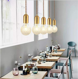 Wholesale Copper Kitchen Australia - Pendant Lights Copper Glass nordic simple Modern Pendant Living Room Ceiling Lamps 1 Light Hanging Fixture Hanglamp