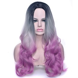 ombre loose wave synthetic wig NZ - SHUOWEN 29 Inches Black Grey Purple Ombre Synthetic Remy Hair Wig Natural Wave Perruques Loose Wave Wigs Simulation Human Hair Wigs