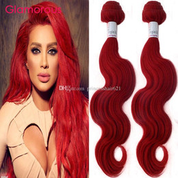 Discount remy red hair weave Glamorous 3 Bundles Red Remy Hair Bundles Straight Body Wave Colored Peruvian Malaysian Indian Brazilian Human Hair Weav
