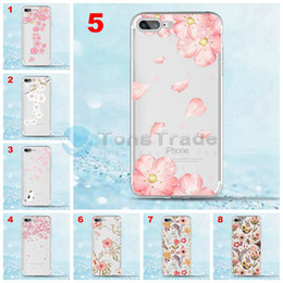 $enCountryForm.capitalKeyWord Australia - [TongTrade] Fresh Flower Cover For iPhone XS Max XR X 8 7 6 6s Plus Case Transparent TPU Black Soft Silicone Color Painting Luxury Custom