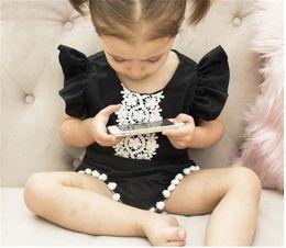 $enCountryForm.capitalKeyWord Australia - INS Toddler Baby Girls Lace Tassel Rompers Summer Short Sleeve Blackless Straps Front Flower Lace Designs Newborn Girls Jumpsuits Onesies