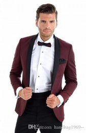 Wholesale high collar shawl resale online - High Quality Burgundy Groom Tuxedos Slim Fits Shawl Collar Man Prom Blazer Mens Work Business Suits Jacket Pants Tie H