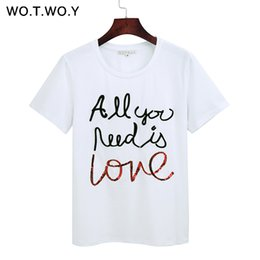 260e4ef35 Wotwoy Summer Sequin Tops Tees Woman Funny Letter Embroidery T Shirt Women  Black White O-neck Cotton T-shirt Femme 2018 New S403
