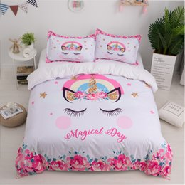 Queen size cartoon bedding online shopping - Unicorn D Bed Set Cute Cartoon Duvet Cover Pillowcase Twin Queen King Size Kids Girls Bedroom Bed Cover Home textile