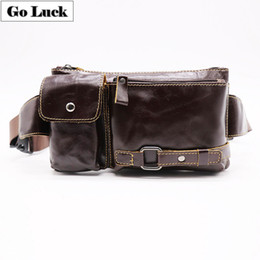 China Genuine Leather Casual Travel Waist Fanny Pack Men's Crossbody Shoulder Bag For Cell Phone Wallet Cigar J190521 cheap cigar pack suppliers